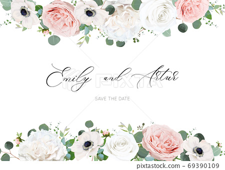 White ivory & blush peach stylish wedding invite, invitation, save the date card design template. Peony rose flowers, tender anemones, silver dollar green eucalyptus leaves watercolor style chic frame 69390109