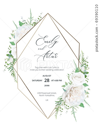 Wedding trendy elegant invite, save the date, greeting, thank you card, floral design. Pale ivory White peony Rose flowers, sage green herbs, Eucalyptus branches, greenery & geometrical metallic frame 69390110