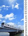 Keisei Electric Railway 3000 series crossing the Nakagawa Bridge 69390904