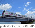 Keisei Electric Railway 3000 series crossing the Nakagawa Bridge 69390905