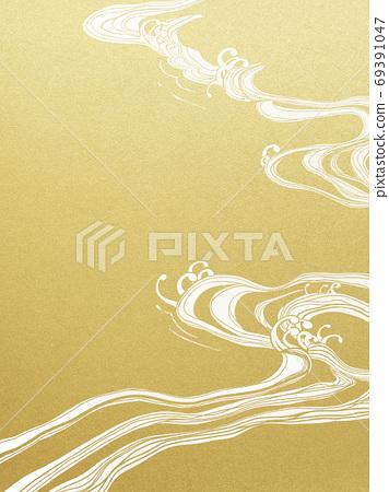 金色的日本背景表達了河流的水流-有多種變化 69391047