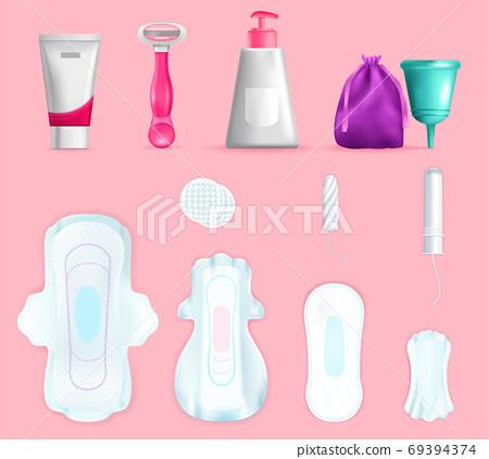 Feminine Hygiene Realistic Set 69394374