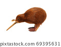 Close-up New Zealand kiwi bird souvenir on white background 69395631