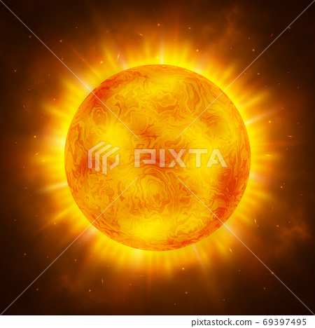 Sun planet. Bright realistic sun with rays, glow and sparks. Sunshine design. Space background. Global warming concept. Vector Illustration 69397495