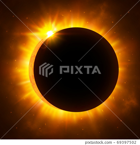 Sun eclipse with corona. Solar eclipse. Bright red star light shine from the edges of a planet. Space background. Vector Illustration 69397502