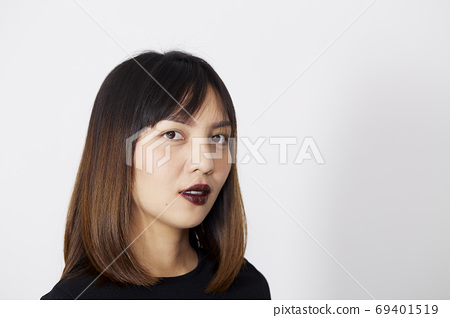 Asian Woman in black dress on white 69401519