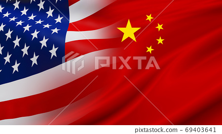 USA and China flag background design 69403641