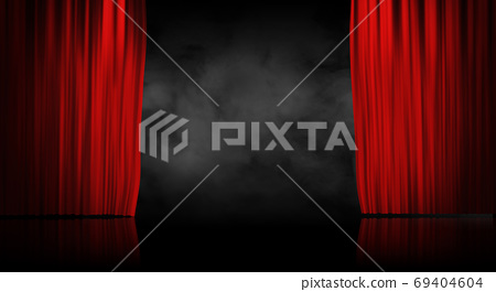 Red stage curtain with smoke background 69404604