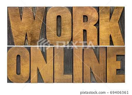 work online word abstract in wood type 69406361