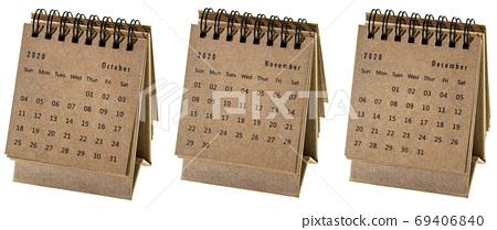 October, November and December 2020 - spiral desktop calendar 69406840