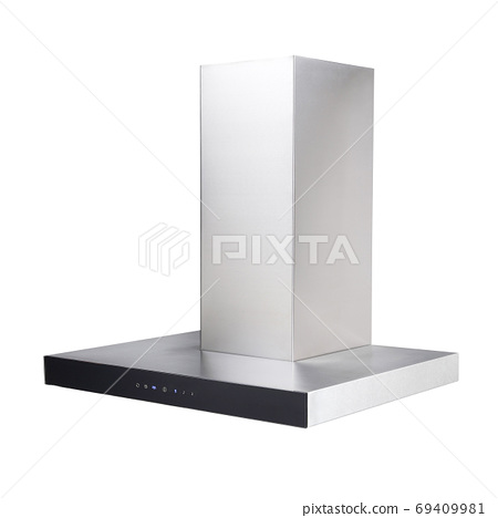 Stainless Steel Cooker Hood Isolated on a White Background. Island Hoods. Range Hood. Side View of Cooking Hood. Chimney Hood. Kitchen Appliances. Clipping Path 69409981