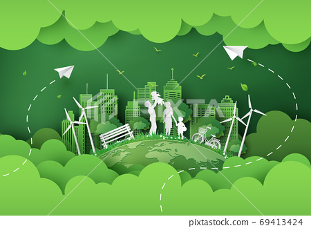illustration of eco and world environment day with happy family. 69413424