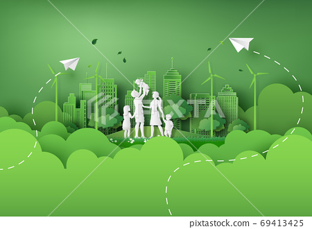illustration of eco and world environment day with happy family. 69413425