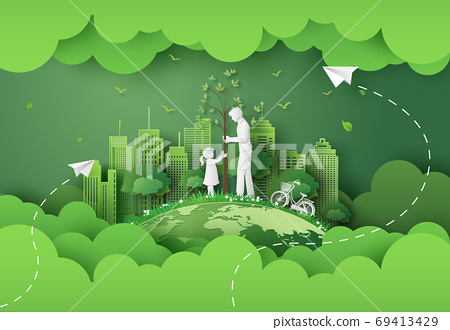 green city with family 69413429