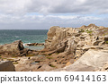 Cliffs on the coast of the Ile Grande in Brittany, France 69414163