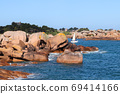 Boulders on the Pink Granite Coast in Brittany 69414166