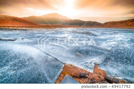 Aso in winter, Kusasenri's ice lake 69417792