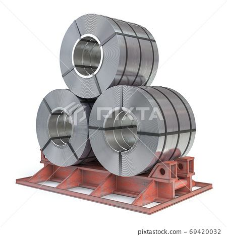 Steel sheet rolls isolted on white. Production, delivery and sto 69420032