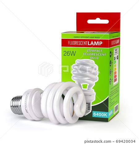 Spiral fluorescent lamp, energy saving light bulb with green box 69420034
