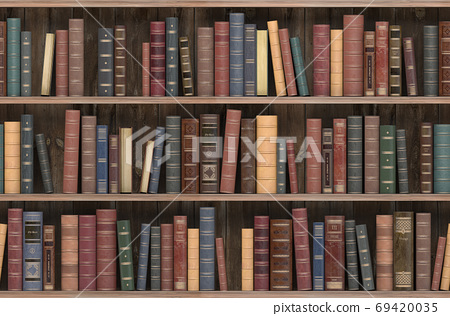 Vintage books on old wooden shelf. Old library or antique booksh 69420035