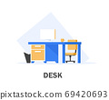 Home or office desk with pedestal drawer,flat design icon vector illustration 69420693
