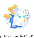 Gold price concept,Futuristic gold raise arrow chart digital,Gold trading,flat design icon vector illustration 69420705