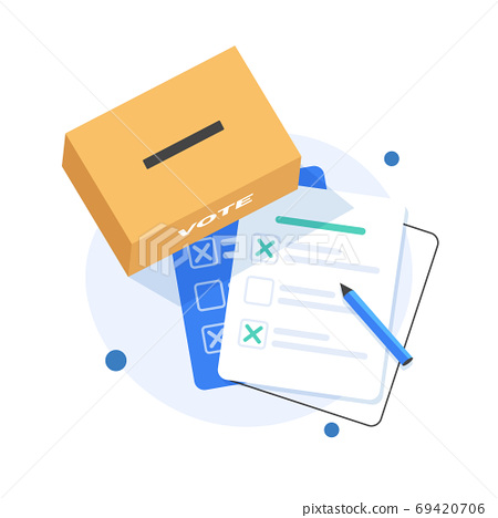 Puts voting ballot in ballot box. Voting and election concept,Clients Choosing Satisfaction Rating and Leaving Positive Review 69420706