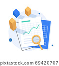 Investment analysis concept banner,Financial planning,Data analysis concept,Business concept for marketing ,analysis and brainstorm,flat design icon vector illustration 69420707