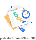 To do list or planning icon concept. All tasks are completed. Paper sheets with check marks,flat design icon vector illustration 69420709