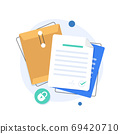 open folder icon,Folder with documents,Document protection concept,flat design icon vector illustration 69420710