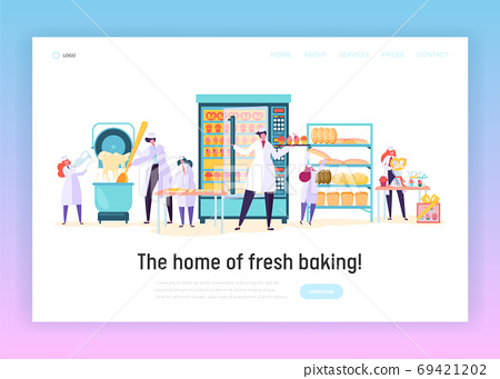 Kitchen Worker Make Bakery Product Landing Page 69421202