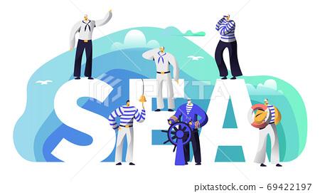Sea Banner Sailor Character. Old Beard Captain 69422197