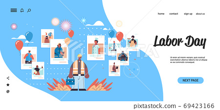 engineer discussing with mix race people of different occupations in web browser windows labor day self isolation 69423166