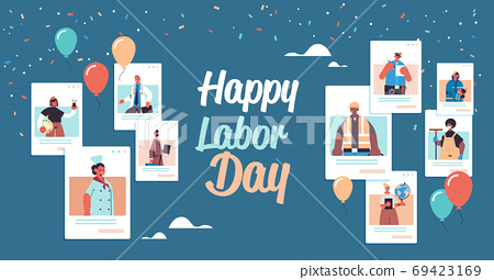 people of different occupations celebrating labor day mix race men women in web browser windows 69423169