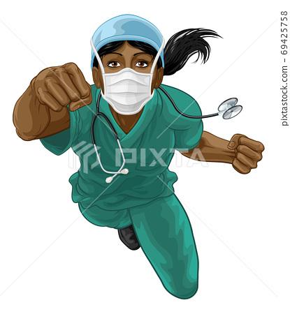 Nurse Doctor Woman Super Hero Medical Concept 69425758