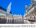 Brussels, Belgium plaza and skyline with the Town 69425925