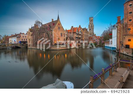 Bruges, Belgium Night Scene 69425928