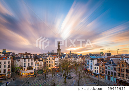 Brussels, Belgium plaza and skyline with the Town 69425935