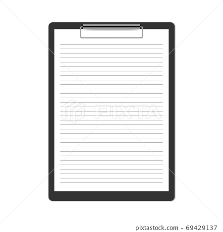 Realistic black clipboard isolated on white background, vector illustration 69429137