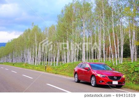 Drive image Hokkaido National Route 273 Nukabira National Highway Shirakaba trees 69431819