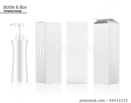 Glossy Pump Bottle Mock up Realistic Cosmetic and 3 Dimensional Box for Whitening Skincare and Aging anti-wrinkle merchandise on White Background Illustration. Health Care and Medical. 69432233