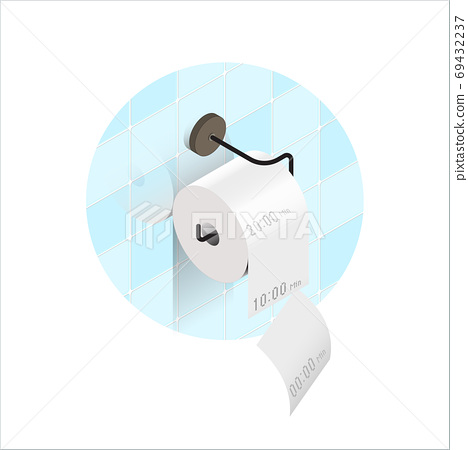 Isometric view,Realistic toilet paper in rolls and recording  your bathroom time 69432237