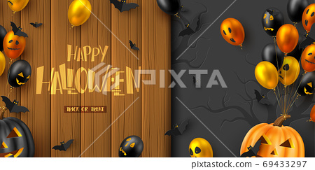 Happy Halloween horizontal banner. 69433297