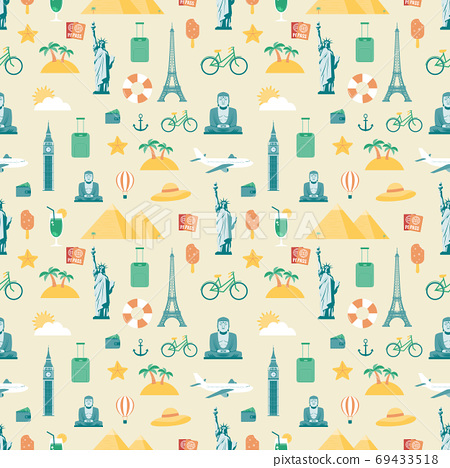Travel composition with famous world landmarks. Seamless pattern. Vector 69433518