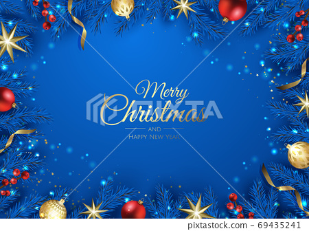 Merry Christmas background with christmas element. Vector illustration 69435241