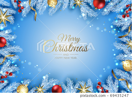 Christmas banner. Background Xmas design of with gifts box, snowflake and confetti. Horizontal christmas poster, greeting cards, headers, website. 69435247