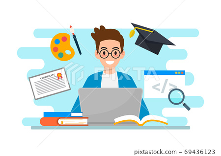 Education & e-learning concept flat design 69436123