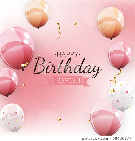Happy Birthday Background with Balloons. Vector Illustration 69436177