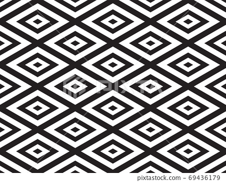 Black and White Geometric Abstract Background Seamless Pattern. Vector Illustration 69436179