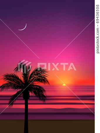 Summer tropical beach background with palms, sky sunrise and sunset. Summer party placard poster flyer invitation card. Summertime. 69436508